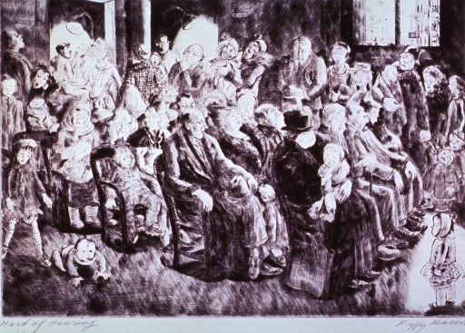<p>In a crowded waiting room at a clinic docile adults appear oblivious to an equal number of screaming young children.</p>