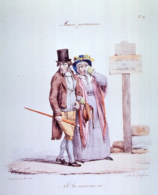 <p>Caricature:  A man and a woman walking along a road turn their heads away for protection from the dirt and smell of a roadside dump.</p>
