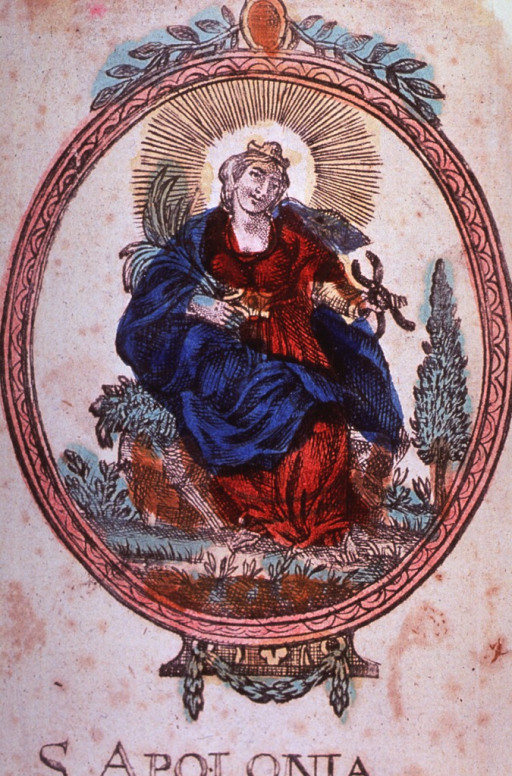 <p>Full length, seated, full face; holding pincers and a palm frond; in oval.</p>