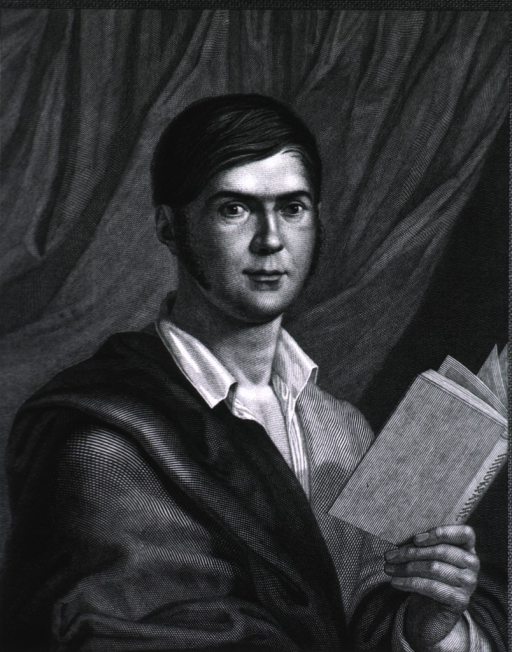 <p>Head and shoulders, right pose, full face; holding book.</p>