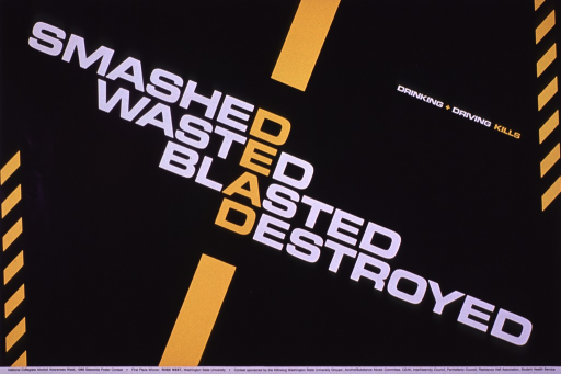 <p>Predominantly black poster with white and bright yellow lettering.  Title in center of poster on a diagonal.  Title words are aligned to form the word &quot;dead&quot; from one letter in each word.  &quot;Dead&quot; is highlighted in yellow.  Visual images are simple yellow bars, suggestive of lane dividers and/or traffic signs.  Note text near upper right corner.  Publisher information at bottom of poster.  Poster was first place winner in the National Collegiate Alcohol Awareness Week, 1986 Statewide Poster Contest.</p>