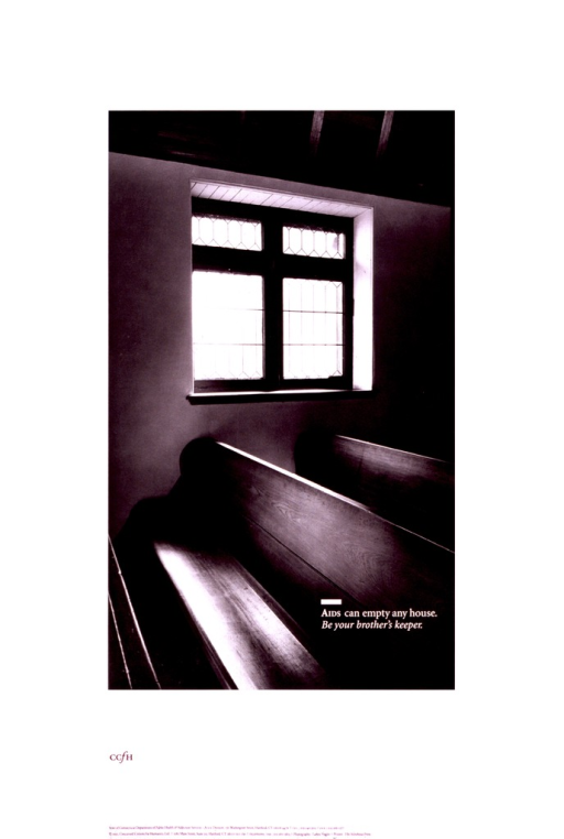 <p>White poster illustrated with a black and white photograph of several empty pews in a church lit by sun pouring through the panes of a window.  At the bottom appear the addresses and telephone numbers of both the Concerned Citizens for Humanity and the State of Connecticut Department of Public Health &amp; Addiction Services, AIDS Division.</p>