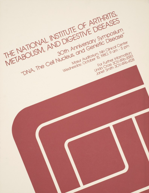 <p>An enlarged and partial view of the National Institute of Arthritis, Metabolism, and Digestive Disease logo dominates the poster. Date, time, and location of the event are given.</p>