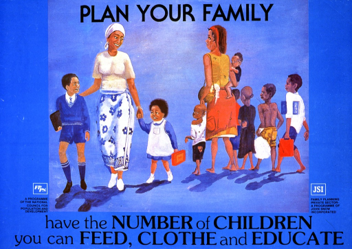 <p>Predominantly blue poster with an illustration showing two mothers with their families. One mother is smiling and has two children who are well-dressed and look cheerful. The other mother has six children who look unhappy, poorly-dressed, and underweight. The initial part of the title is above the illustration, while the subtitle is below it. There are two logos at the bottom of the poster, one for each of the publishing organizations.</p>