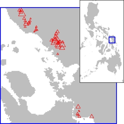 Spatial Distribution of the Underlying Rate of Transmission between Snails and Mammals βSM(j) under the Best Fit Hypothesis, H2The linear size of the red triangles is proportional to the value of βSM(j). The outset chart shows the location of the study region in the Philippines. North is towards the top of the page in both charts.