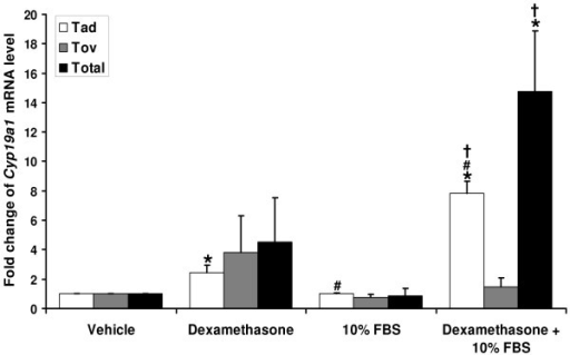 Dexamethasone or dexamethasone plus FBS induced adipose-specific Cyp19a1 mRNA expression in primary MAF. Following overnight serum starvation, cells were incubated in serum-free DMEM/F-12 medium or DMEM/F-12 supplemented with 10% FBS in the absence or presence of 250 nM dexamethasone for 24 hours. Adipose-specific, ovarian-specific or total C yp19a1 mRNA levels were analyzed by real-time RT-PCR. *p < 0.05 for vs. vehicle treatment. #p < 0.05 for vs. Dexamethasone treatment. †p < 0.05 for vs. FBS treatment.