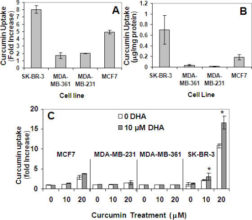 Effect of DHA on CCM uptake. Cells were treated with 20 μM CCM for 24 hours. CCM uptake was quantified by flow cytometry (A) in comparison with HPLC (B) as described in Materials and Methods. (C) SK-BR-3, MDA-MB-231, MDA-MB-361, MCF7, and MCF10AT cell lines were treated with escalating doses of CCM in the presence or absence of 10 μM DHA and analyzed by flow cytometry. Fold changes (A, C) were compared to respective cell line controls (without CCM or DHA). *P < 0.05 for Student's t-tests comparing the treatments with DHA to the treatments without DHA in three duplicate assays.