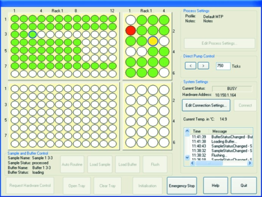 Screenshot of the graphical user interface during user operation