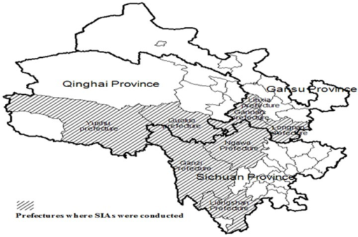 Distribution of prefectures where SIAs were conducted in Sichuan, Qinghai and Gansu provinces.Note: SIAs, supplementary immunization activities.