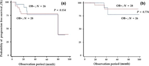 Progression-free survival (a) and overall survival (b) rates of patients who obtained complete response (CR) according to the presence or absence of oligoclonal band (OB).
