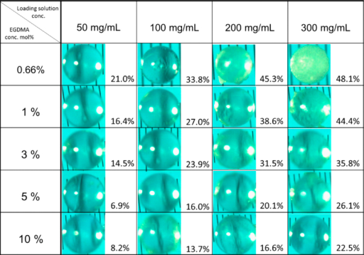 Characteristics of indomethacin-loaded PHEMA beads as a function of crosslinking agent concentration and loading solution concentration. Photographs of corresponding indomethacin-PHEMA samples on scale lines of a microscope slide (between scale lines: 100 μm) showing evidence of the threshold of drug loading levels. Figure adapted from reference 12 (reproduced with permission from the European Journal of Pharmaceutics and Biopharmaceutics, Copyright Elsevier 2012).