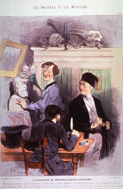 <p>A man is sitting at a desk holding a quill pen in his right hand, to his left is his top hat; standing opposite are two people, one of which is dusting a bust; on a shelf are ranged several skulls.</p>