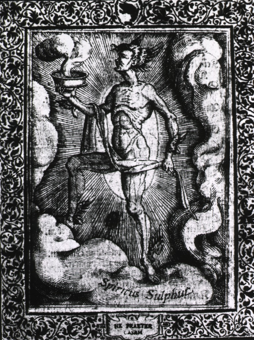 <p>A male figure with wings on his head, wrists, and ankles; he is holding a bowl which is emitting gaseous fumes.</p>