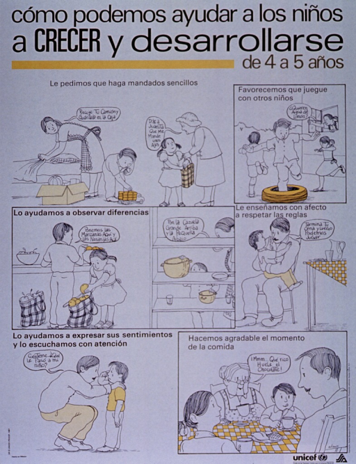 <p>White poster with black lettering.  Title at top of poster.  Poster is a series of illustrations in which families attend to their 4- to 5-year old children.  Scenes include asking children to run simple errands, children preferring to play with other children, helping children notice differences, teaching children to respect rules, helping children express their feelings and listening to them attentively, and having an agreeable dinner hour.  UNICEF and health agency logo in lower right corner.</p>