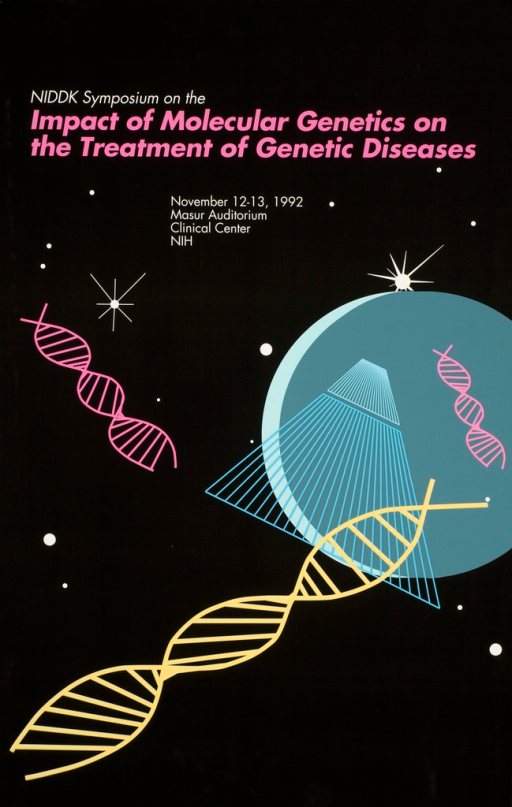 <p>Poster has a black background to resemble the sky with several stars, a circle representing the moon, a space capsule, and several scattered DNA double helix images. The title and details of the symposium are at the top of the poster in white and pink print.</p>