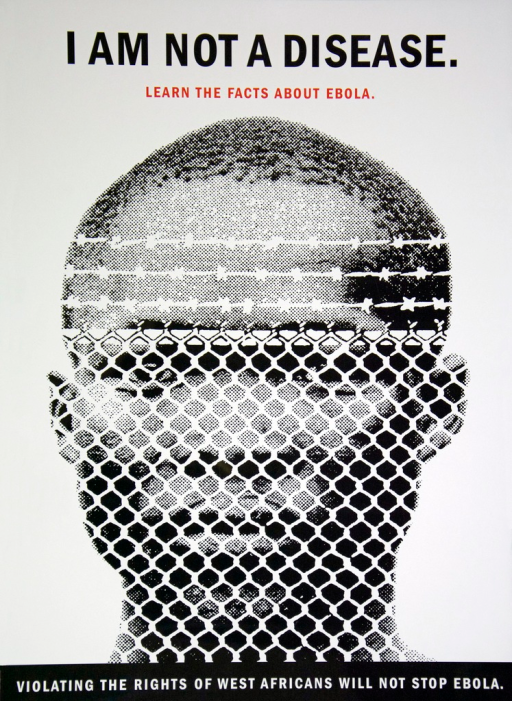 <p>Dominant image is the head of a West African man who is looking through a white barbed wire fence.</p>