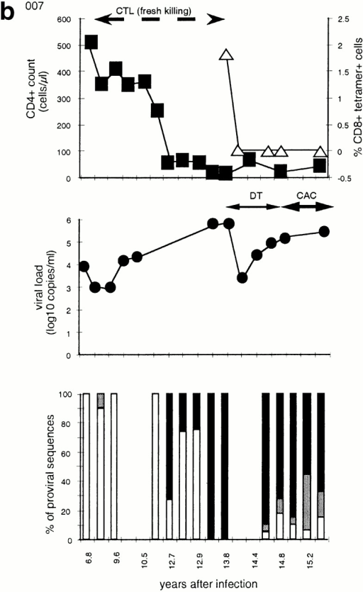 Time course of four subjects developing nonbinding mutations: (a) 777, (b) SW, (c) 007, and (d) RT. In each, the top panel shows CD4+ count (left axis) and HLA B-27 tetramer staining (right axis); the middle panel shows viral load (log RNA copies/ml); and the bottom panel shows the percentage of clones with each variant epitope sequence. Top panels: filled boxes, CD4+ T cell count; open triangles, percentage of CD8+ cells staining with M268 variant peptide B27 tetramer; open diamonds, percentage of CD8+ cells staining with L268 variant peptide B27 tetramer. Double-headed arrows indicate period during which fresh killing was detected of peptide-pulsed autologous targets. Middle panels: closed circles, viral load log10 copies of HIV RNA/ml plasma. Periods of mononucleoside analogue therapy (MT), dual nucleoside analogue therapy (DT), and combination therapy with dual nucleoside analogues and a protease inhibitor (CAC) are indicated by double arrow headed lines. Bottom panels: white bars, percentage of viral DNA sequences with R264 M268; gray bars, percentage of viral DNA sequences with E260 R264 L268 (w/t); black bars, percentage of viral DNA sequences with K264 M268; horizontal stripe, percentage of viral DNA sequences with K264 L268; left to right downward hatch, percentage of viral DNA sequences with D260 G264 L268; and right to left downward hatch, percentage of viral DNA sequences with another mutation at 264.