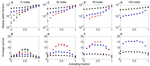 The activating fraction and dynamics of random (Erdös-Renyi) networks. A, C, E, G: Fraction of networks whose dynamics reach steady state, as a function of activating fraction a. B, D, F, H: Average oscillation period of network dynamics, as a function of a. The network size is 10 (A, B), 20 (C, D), 50 (E, F), or 100 (G, H). The number of connections per node is 1 (black circle), 2 (blue square), 5 (red diamond) 8 (green +), or 10 (black triangle). For a near 1, the network dynamics are highly likely to reach steady state, independent of other parameters (A, C, E, G). For a near 0, the steady state fraction is between 7 × 10-4 and 0.25, depending on the network degree. For a near 1, the average period is close 1, which corresponds to steady state (B, D, F, H). For a near 0, the period is close to 2, because the activity of network nodes oscillates between off and on. For a near 0.5, the period has a maximum. The maximum oscillation period increases with the size and degree of the network.