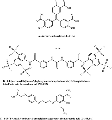 Three compounds found in the LOPAC1280 library screen as TEV inhibitors were confirmed using both the CP234-Luc/ENLYFQC assay and the protein fusion cleavage assay. Their chemical structures are:  A. aurintricarboxylic acid (ATA),  B. 8,8'-[carbonylbis(imino-3,1-phenylenecarbonylimino)]bis(1,3,5-naphthalene-trisulfonic acid) hexasodium salt (NF-023), C. 4-[3-(4-Acetyl-3-hydroxy-2-propylphenoxy)propoxy]phenoxyacetic acid (L-165,041).