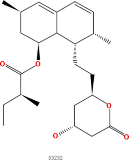 Lovastatin. 2D structure depiction of Lovastatin (PubChem CID 53232).