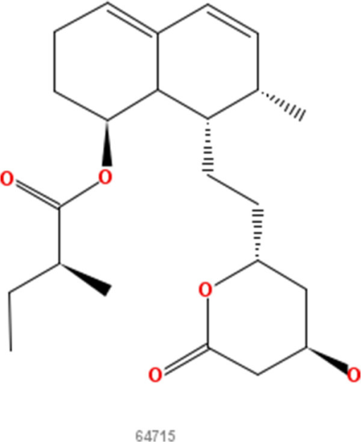 Mevastatin. 2D structure depiction of Mevastatin (PubChem CID 64715).