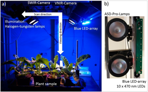 (a) Hyperspectral imaging setup for measurements of the reflectance of plants under controlled conditions with artificial illumination; and (b) installation of the supplemental Blue LED-array next to the ASD-Pro-Lamps. (Best viewed in colour).