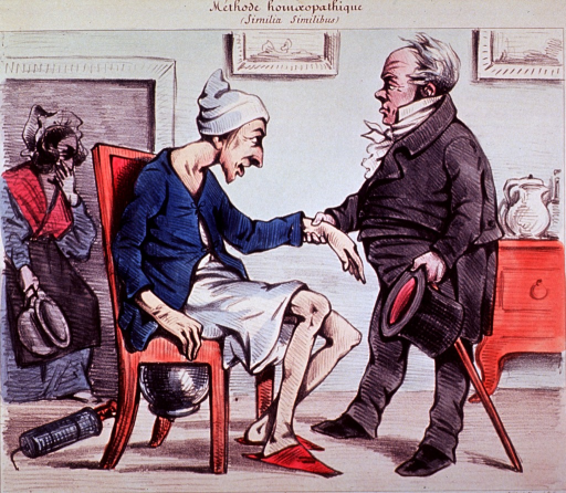 <p>A man is sitting in a chair under which is a chamber pot; a physician holds his hat and cane in one hand and the man's arm (taking pulse?) in the other.  A clyster in on the floor by the chair and a chambermaid, holding her nose, enters with a clean pot.</p>