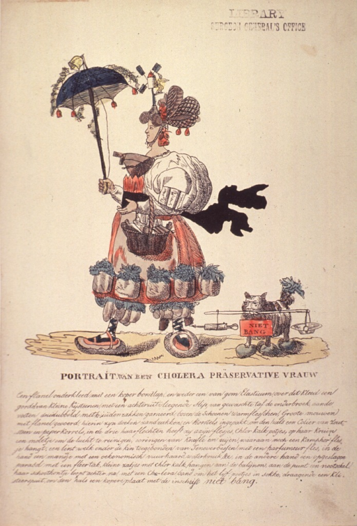 <p>A woman wearing and carrying various protective measures against cholera.  A pet dog, following, is also wearing protective devices, including coverings for its feet.</p>