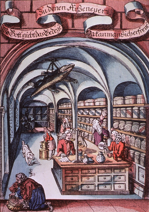 <p>Interior view of a pharmacy, ca. 1795, showing perscriptions being prepared, a woman cleaning a container, and a dog.</p>