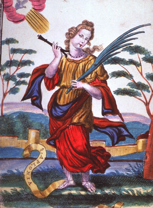 <p>Full length, standing, turned slightly to the left, head inclined to the right, full face; holding pincers with tooth and a palm frond.</p>