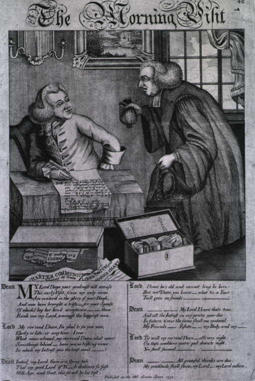 <p>A member of the clergy visits a lord, proffering a gift of money, he requests to be granted a bishopric; the lord sits at a table writing; in the foreground are trunks containing various documents.</p>