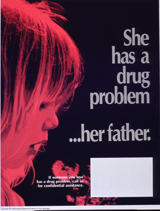 <p>Blue poster with gray and white lettering.  Title on right side of poster.  Visual image is a pink halftone photo of a little girl holding dandelions that have gone to seed.  Caption near bottom of poster.  Blank space near caption for contact information, though none given.  Publisher information at bottom of poster.</p>