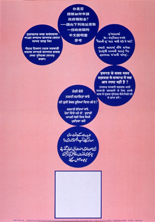 <p>Pink or salmon poster with white and blue lettering.  All text in non-Latin scripts.  Languages include Chinese and Amharic, plus three based on the Devanagari script (e.g., Hindi, Bengali?) and one based on Arabic script (e.g., Arabic, Urdu?).  Visual image is a question mark, formed by blue dots each bearing a similar amount of text.  The bottom of the question mark is an empty box, as if intended for program or contact information.  Publisher information at bottom of poster.</p>
