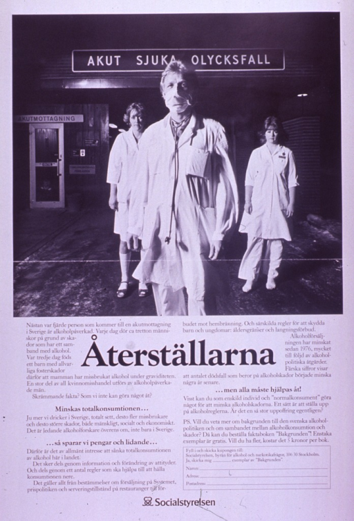 <p>Predominantly white poster with black lettering.  Visual image at top of poster is a b&amp;w photo reproduction featuring three health workers standing outside an emergency room, as if waiting for an ambulance to arrive.  Title below photo, surrounded by lengthy text about the role of alcohol in accidents and other health problems.  Note appears throughout the text in boldface letters and urges a reduction in alcohol consumption to save money and suffering, if everyone helps out.  Publisher information at bottom of poster.</p>