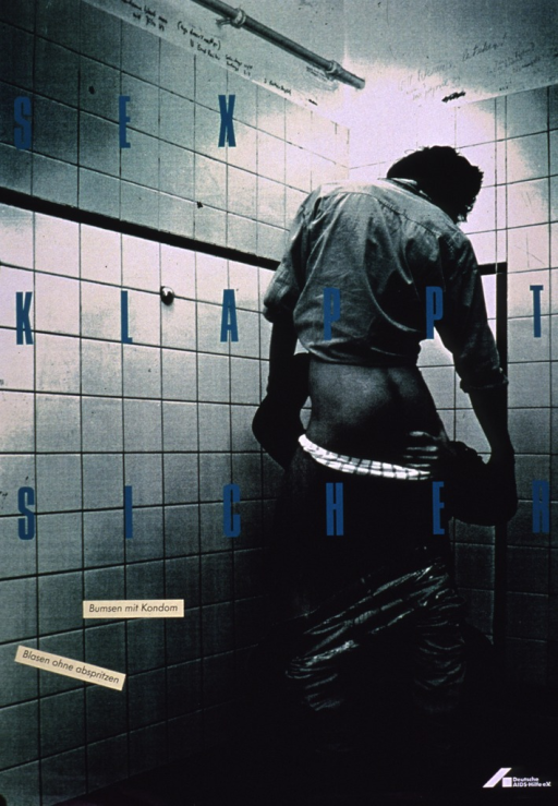 <p>Predominantly green-tone poster with multicolor lettering.  Visual image is a photo reproduction featuring a man receiving oral sex in what appears to be a public restroom.  Title and note text superimposed on photo.  Title deals with safe sex.  Notes urge condom use and not ejaculating during oral sex.  Publisher information in lower right corner.</p>