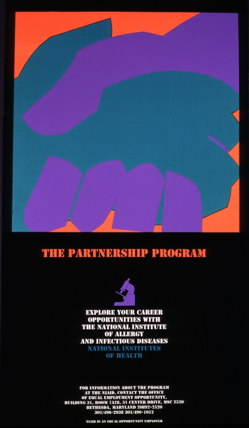 <p>A purple hand is shaking a green hand against an orange background.  Information is given for finding out more about the program at the NIAID.</p>