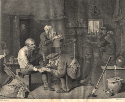 <p>A quack kneels and performs an operation on the foot of a man who sits and grimaces.  Another quack performs an operation on another seated man in the background.  A third quack stands and looks over his shoulder at another patient who walks through the door.</p>