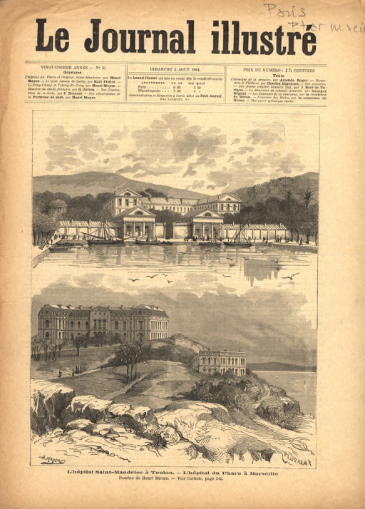 <p>Views of the facʹades and surrounding grounds of the two hospitals.</p>