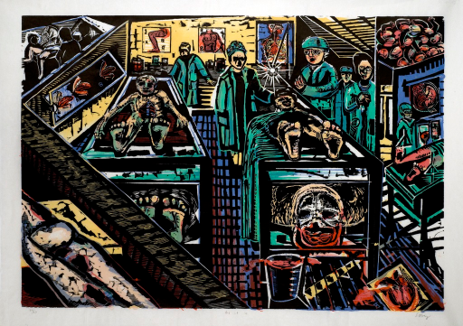 <p>A scene in a morgue. The source image for the print is Max Beckmann's &quot;Morgue&quot;. Cadavers are on the 2 tables in the center of the image and autopsies are being performed. Doctors and technicians in green scrubs stand near the bodies. Anatomical charts can be seen on the back wall.</p>