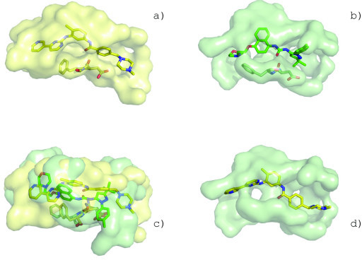 Unique conformation of p38 MAP kinase creates similar binding surface to c-Abl kinase. The binding surface of inhibitor STI-571 in c-Abl kinase (a, PDB:1opj) shows strong similarity to the binding surface of inhibitor B96 in p38 MAP kinase (b, PDB:1kv2). p38 MAP kinase has DFG motif configuration (stick representation) similar to that seen in c-Abl. SurfaceAlign superposition of the surfaces (c). STI-571 is posed into the p38 MAP binding surface based on the surface alignments (d).