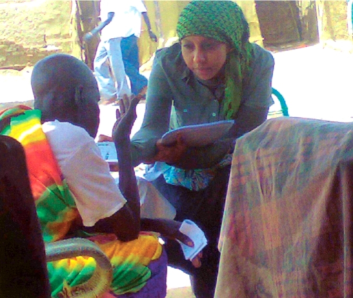 An interview in an IDP camp. SUDAN