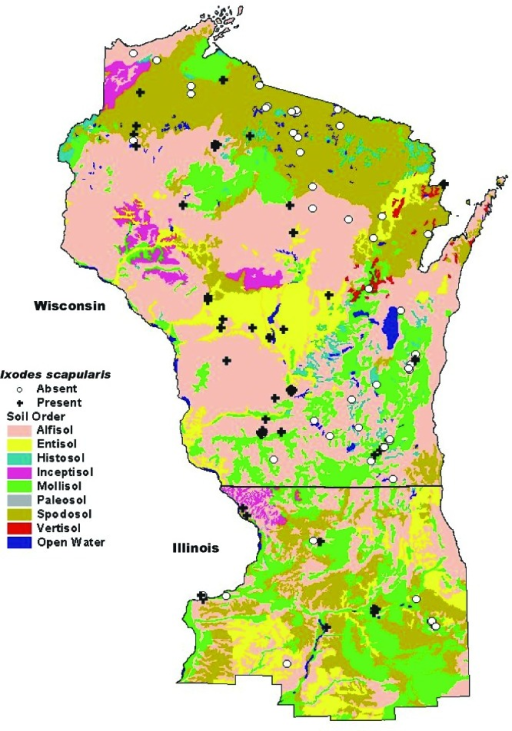 Map Of Soil Orders In Wisconsin And Northern Illinois Overlaid With Tick Study Sites