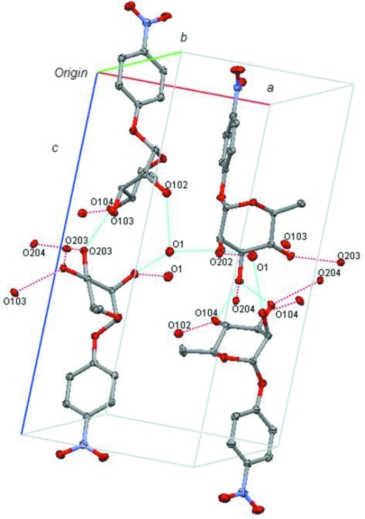 The crystal packing of the structure, showing the network of hydrogen bonds (dotted lines).