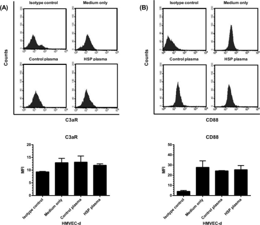 The expression of C3a receptor (C3aR) and C5a receptor (CD88) by HMVEC-d.HMVEC-d were pre-incubated with plasma of patients (N = 30) with acute HSP, plasma of healthy controls (N = 30), or culture medium alone for 48 hr, and then the cells were harvested and analyzed for the expression of C3aR (A) and CD88 (B) by flow cytometry. The expression levels were presented as mean fluorescence intensity (MFI).