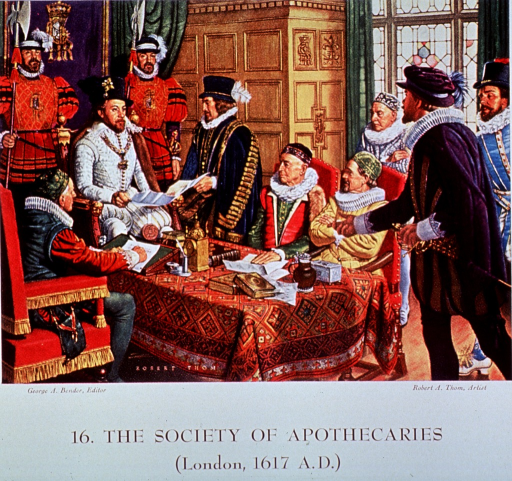 <p>Showing King James I granting a charter for the formation of &quot;The Society of Apothecaries.&quot;</p>