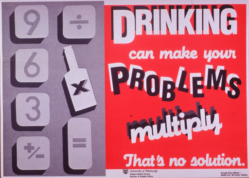 <p>Red and gray poster with black and white lettering.  Title and note on left side of poster.  Visual image on right side of poster is an illustration of several calculator keys.  The multiplication sign is superimposed on a bottle rather than a regular key.  Publisher information at bottom of poster.  Poster was second place winner in the Health Fair '89 Poster contest.</p>
