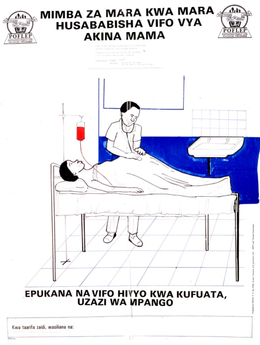 <p>Predominantly white poster with black lettering.  Title at top of poster, along with publisher logos.  Visual image is a color illustration of a pregnant woman being examined and receiving an IV.  Caption below illustration urges reader to avoid deaths by using family planning.  Publisher and sponsor information on right side of poster.</p>