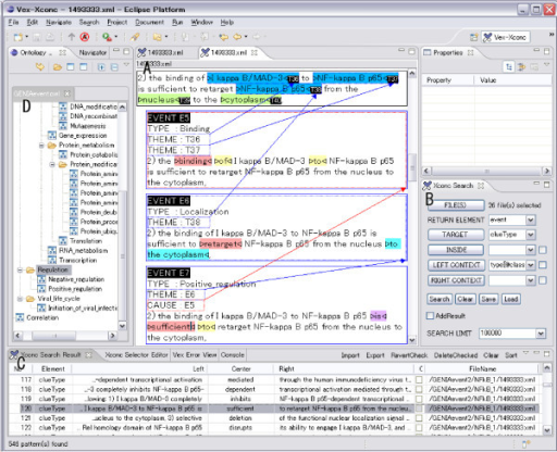 Screenshot of XConc Suite. The XConc Suite consists of three plug-ins to Eclipse platform: an XML editor (A), a concordancer (B is the query editor and C is the result view), and an ontology browser (D) which support both the editor and the concordancer for the selection of ontology terms.