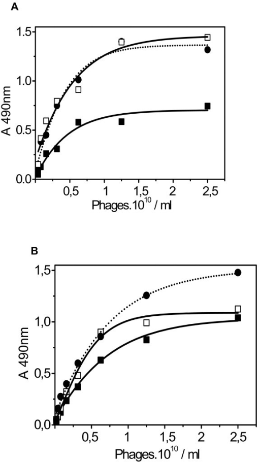 Efficiency of the panning procedures. Different phage libraries, C6 and L15, were used in both a tube biopanning and a chromato-panning procedure. In both procedures three rounds were performed as described in Table 1. The binding efficiency of the obtained phages was determined using HuLF ELISA as described in Materials and Methods. (a) Biopanning with a C6 library. Tube panning: Round 1 (black square) Round 3 (open square); column panning: Round 1 (black circle-dotted line). (b) Biopanning with a L15 library. Tube panning: Round 1 (black square) and Round 3 (open square); column panning: Round 1 (black circle-dotted line).