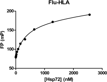 Various concentrations of Hsp72 protein were incubated with the Flu-HLA peptide (20 nM) and FP values measured.